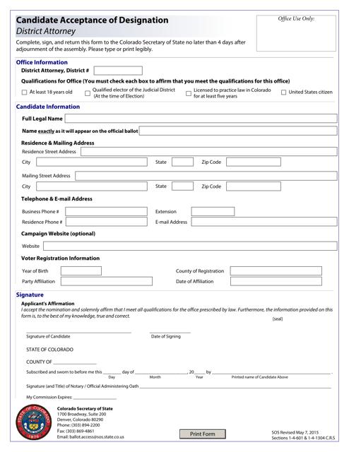 """Candidate Acceptance of Designation - District Attorney"" - Colorado Download Pdf"