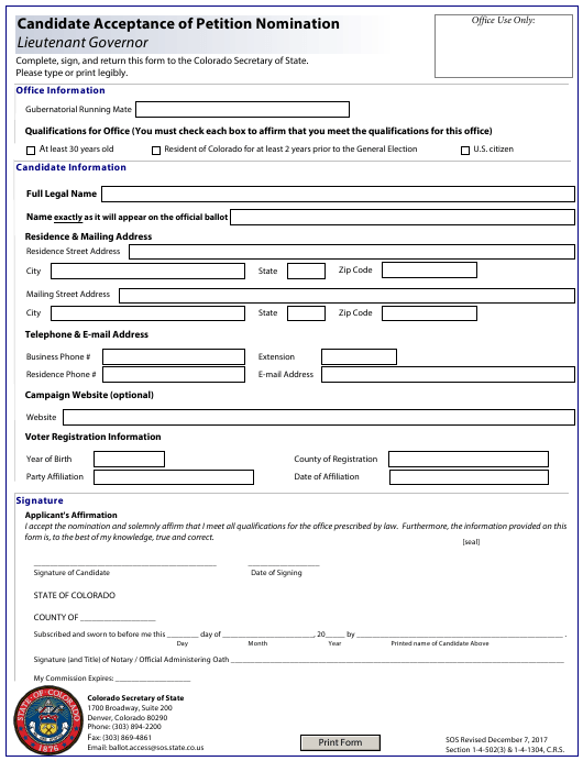"""Candidate Acceptance of Petition Nomination - Lieutenant Governor"" - Colorado Download Pdf"