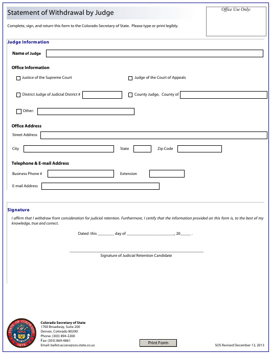 """""""Statement of Withdrawal by Judge"""" - Colorado Download Pdf"""