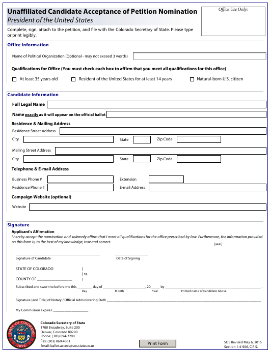 """Unaffiliated Candidate Acceptance of Petition Nomination - President of the United States"" - Colorado Download Pdf"