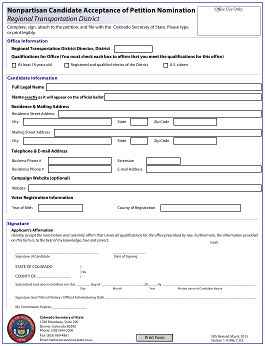 """""""Nonpartisan Candidate Acceptance of Petition Nomination - Regional Transportation District"""" - Colorado Download Pdf"""