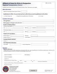 """Affidavit of Intent for Write-In Designation - Regional Transportation District"" - Colorado"
