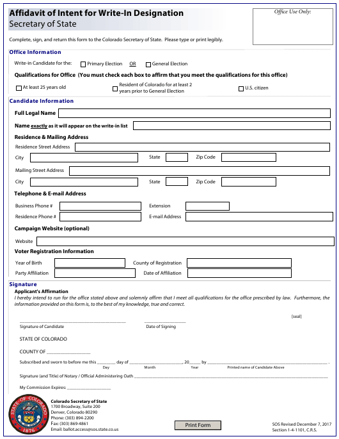 """Affidavit of Intent for Write-In Designation - Secretary of State"" - Colorado Download Pdf"