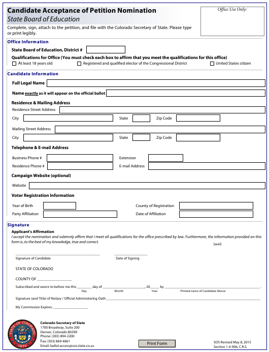 """""""Candidate Acceptance of Petition Nomination - State Board of Education"""" - Colorado Download Pdf"""