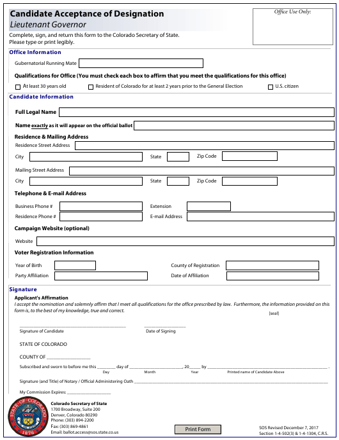 """Candidate Acceptance of Designation - Lieutenant Governor"" - Colorado Download Pdf"