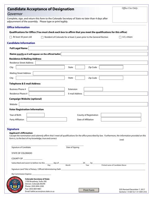 """Candidate Acceptance of Designation - Governor"" - Colorado Download Pdf"