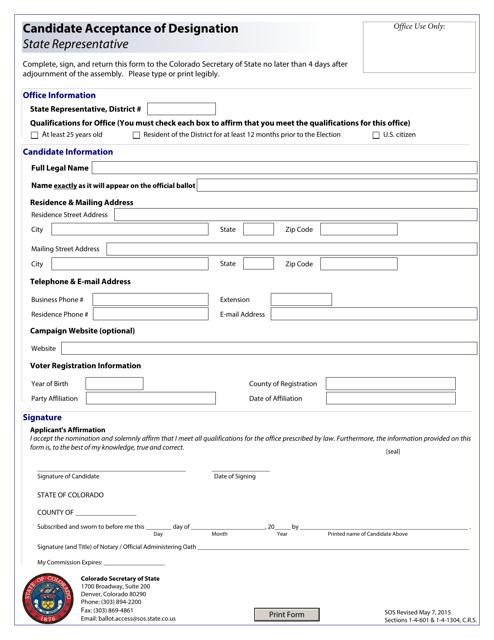 """""""Candidate Acceptance of Designation - State Representative"""" - Colorado Download Pdf"""