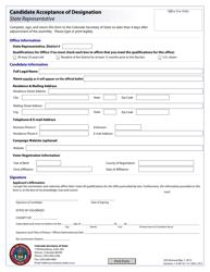 """""""Candidate Acceptance of Designation - State Representative"""" - Colorado"""