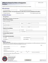 """Affidavit of Intent for Write-In Designation - President"" - Colorado"