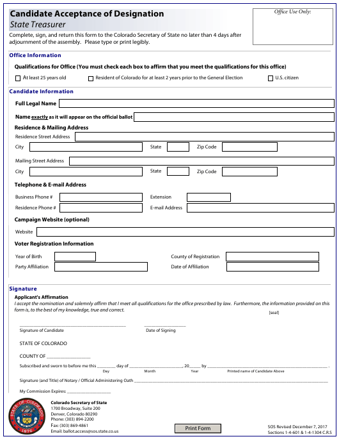 """Candidate Acceptance of Designation - State Treasurer"" - Colorado Download Pdf"