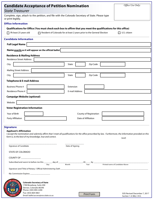 """Candidate Acceptance of Petition Nomination - State Treasurer"" - Colorado Download Pdf"