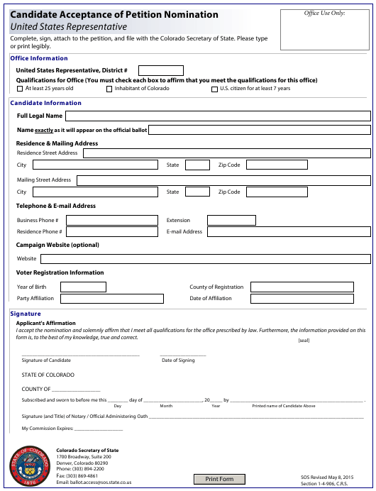"""Candidate Acceptance of Petition Nomination - United States Representative"" - Colorado Download Pdf"
