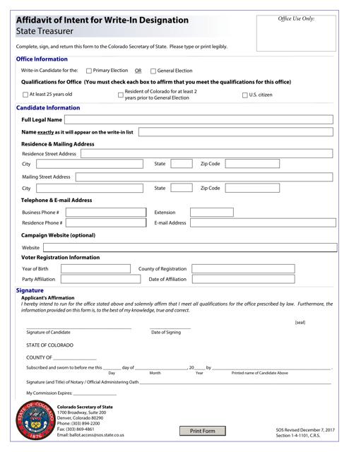 """Affidavit of Intent for Write-In Designation - State Treasurer"" - Colorado Download Pdf"