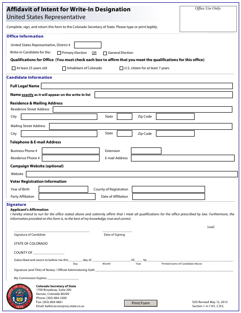 """Affidavit of Intent for Write-In Designation - United States Representative"" - Colorado Download Pdf"