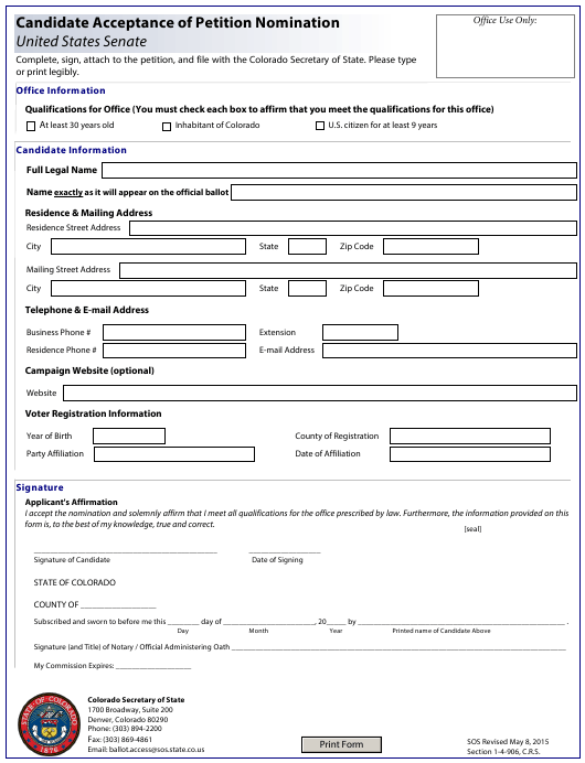 """Candidate Acceptance of Petition Nomination - United States Senate"" - Colorado Download Pdf"
