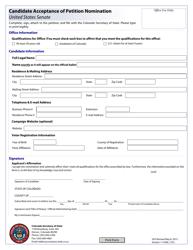 """Candidate Acceptance of Petition Nomination - United States Senate"" - Colorado"