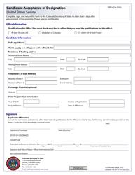 """Candidate Acceptance of Designation - United States Senate"" - Colorado"