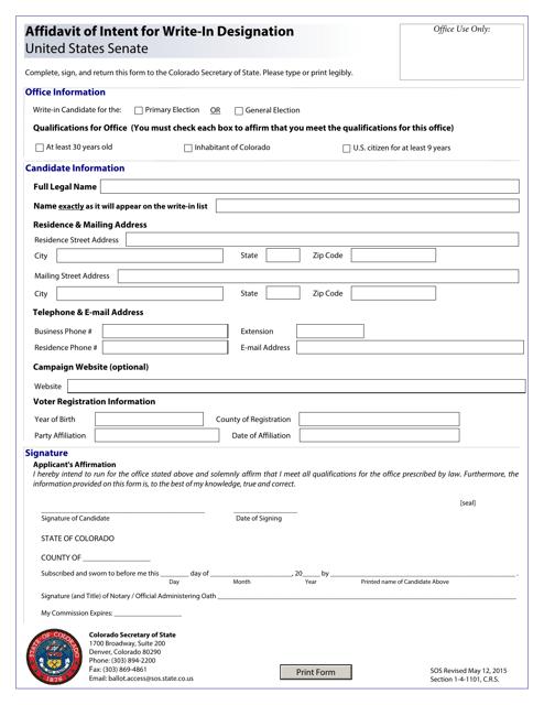 """Affidavit of Intent for Write-In Designation - United States Senate"" - Colorado Download Pdf"