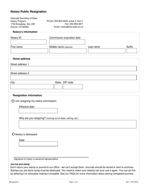 """Notary Public Resignation Form"" - Colorado Download Pdf"