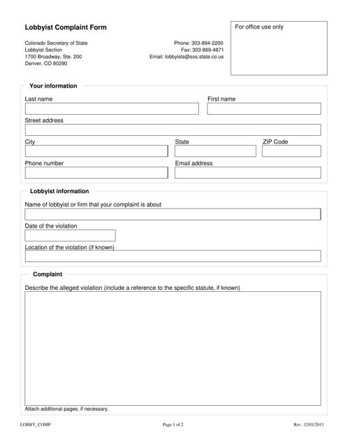 """Lobbyist Complaint Form"" - Colorado Download Pdf"