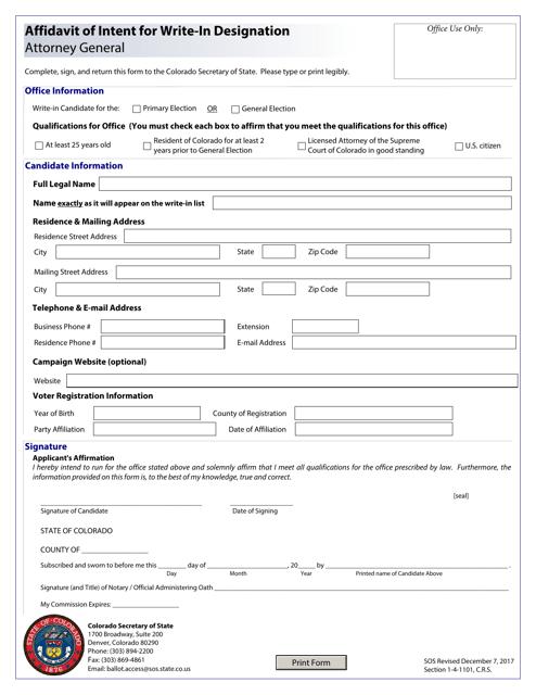 """Affidavit of Intent for Write-In Designation - Attorney General"" - Colorado Download Pdf"