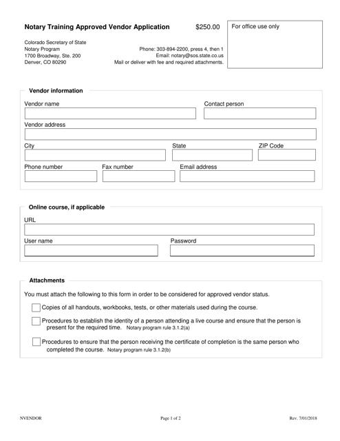 """Notary Training Approved Vendor Application Form"" - Colorado Download Pdf"