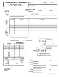 """CDOT Form 43 """"Project Specific Asphalt Job Mix Formula"""" - Colorado"""