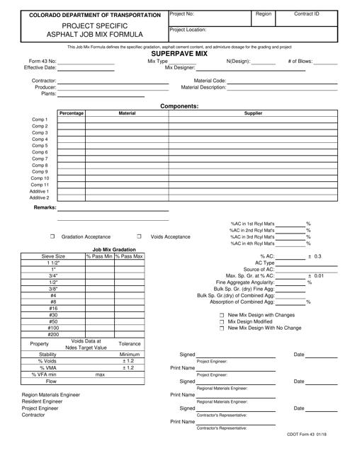 CDOT Form 43  Printable Pdf