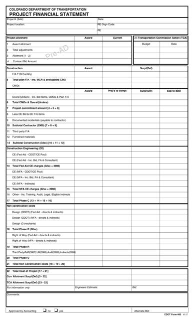CDOT Form 65  Printable Pdf