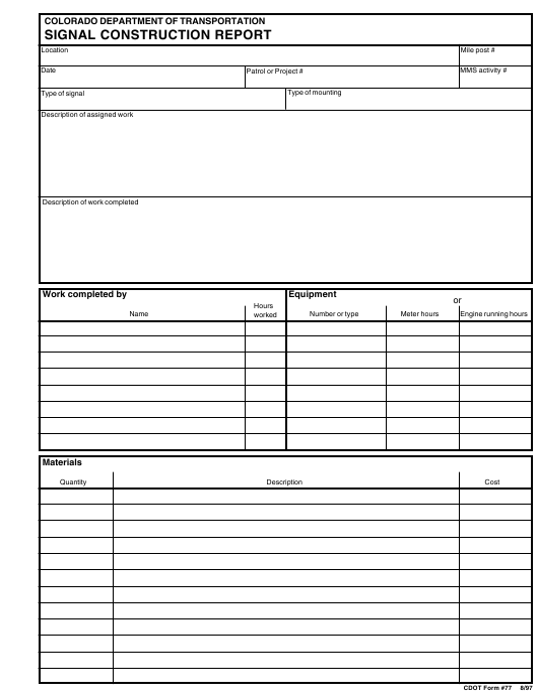 CDOT Form 77  Printable Pdf