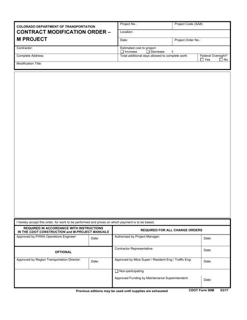 CDOT Form 90M  Printable Pdf
