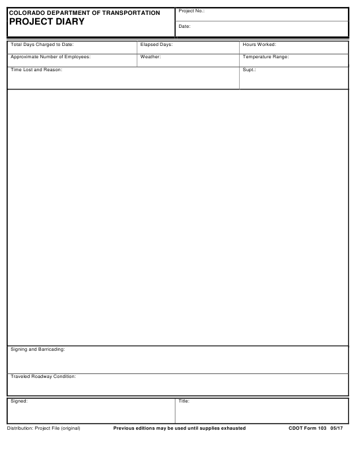 CDOT Form 103  Printable Pdf