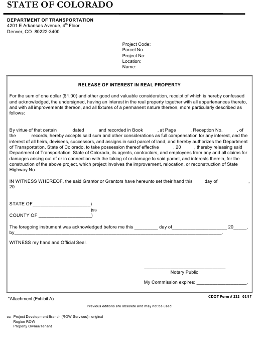 cdot-form-232-release-interest-in-real-property-colorado_big Online Booking Form Html Code on