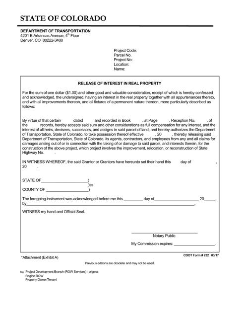 CDOT Form 232  Printable Pdf
