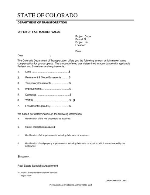 CDOT Form 240  Printable Pdf