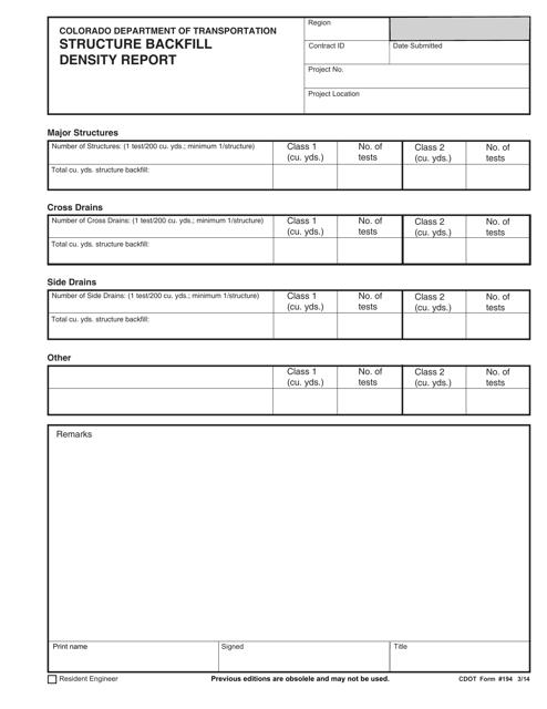 CDOT Form 194  Printable Pdf