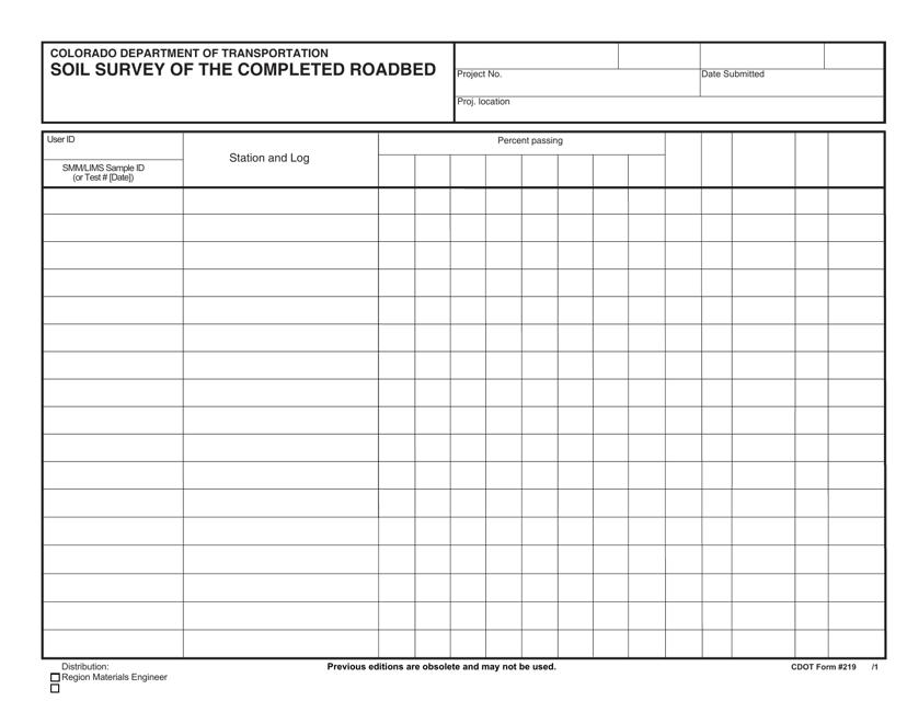 CDOT Form 219  Printable Pdf