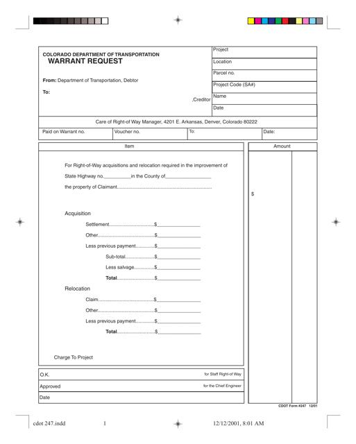 CDOT Form 247  Printable Pdf