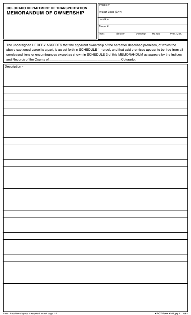 CDOT Form 242  Printable Pdf