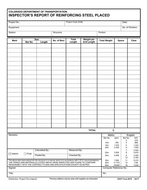 CDOT Form 279  Printable Pdf