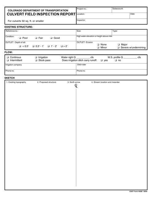 CDOT Form 0283  Printable Pdf