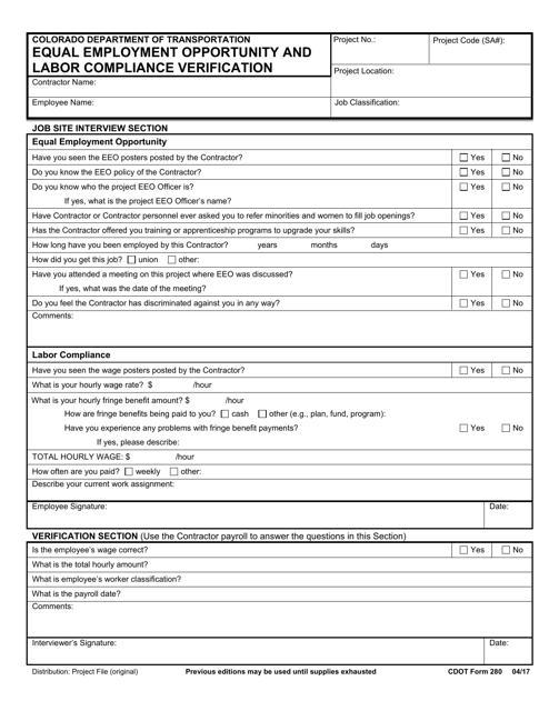 CDOT Form 280  Printable Pdf