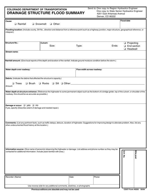 CDOT Form 0293  Printable Pdf