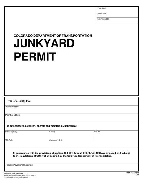 CDOT Form 300  Printable Pdf