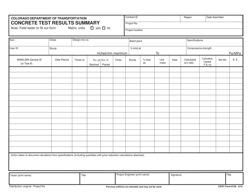 CDOT Form 156  Printable Pdf