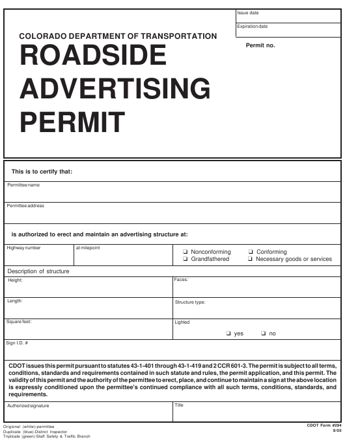 CDOT Form 294  Printable Pdf