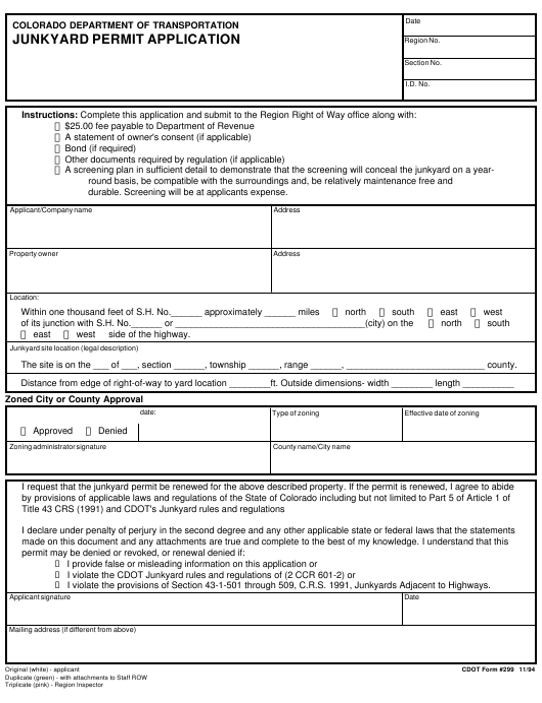 CDOT Form 299  Printable Pdf