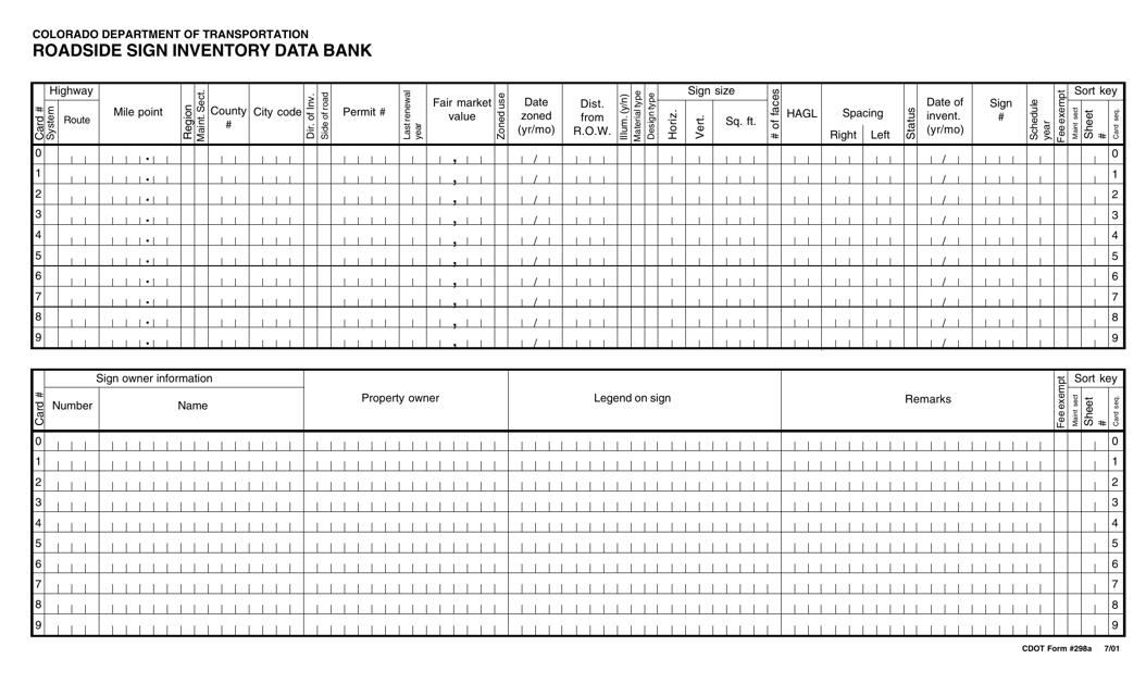 CDOT Form 298A  Printable Pdf