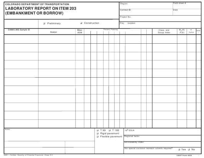 CDOT Form 323  Printable Pdf