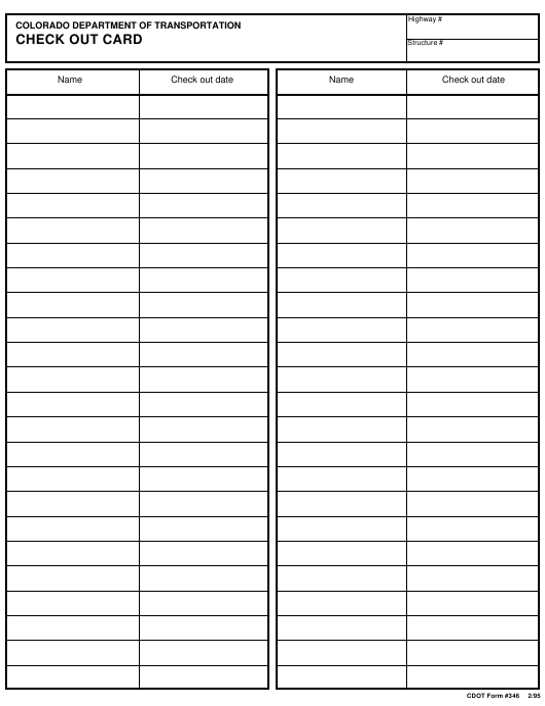 CDOT Form 346  Printable Pdf